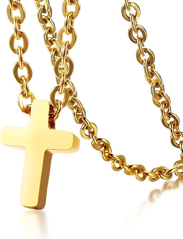VNOX Acero Inoxidable de Lujo pequeño Mini Crucifijo Santa Cruz Encanto Colgante Collar para Mujeres niñas Bautismo,Cadena Libre
