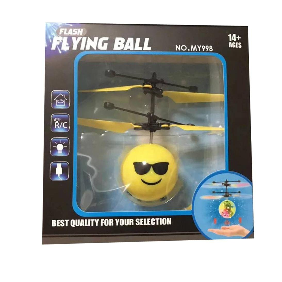 The Emotion Interaction Flying Toy,Mamum Infrared Sensor Hand Induced Flight Emoji Flying Helicopter Balls RC Drone Toys (B)