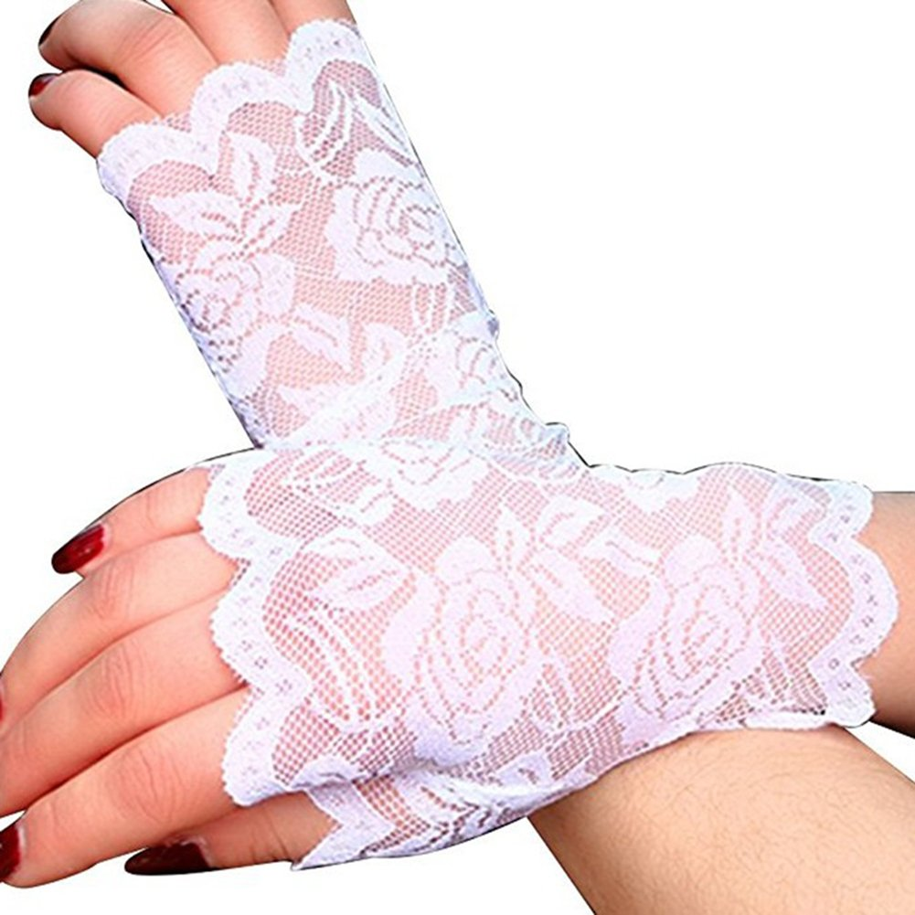 C-Pioneer Short Lace Gloves Sun UV Protection Fingerless Gloves for Driving Wedding Prom Party (White)