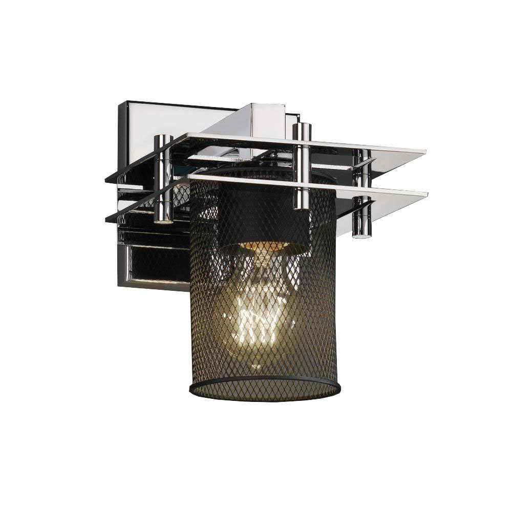 Justice Design Group MSH-8171-10-CROM Wire Mesh Metropolis 1-Light Wall Sconce 2 Flat Bars 8.25-Inch by 6.5-Inch by 7.75-Inch Polished Chrome
