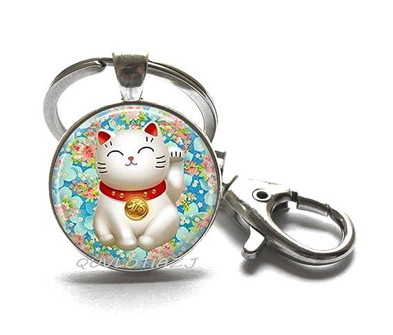 Amazon.com: Gato de la suerte llavero rosa y azul Chiyogami ...