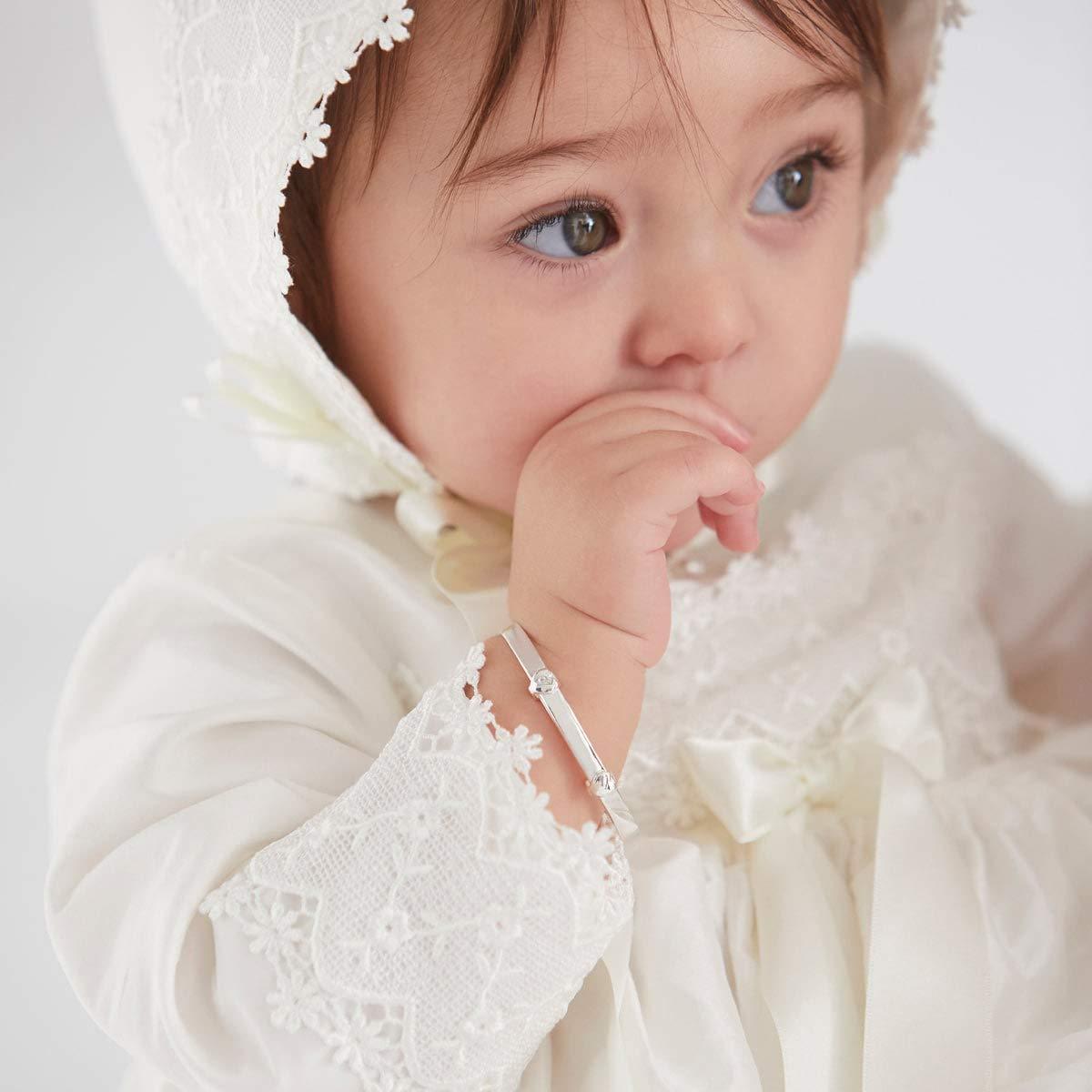 925 Sterling Silver Babys First Diamond Baptism Bangle Molly B London