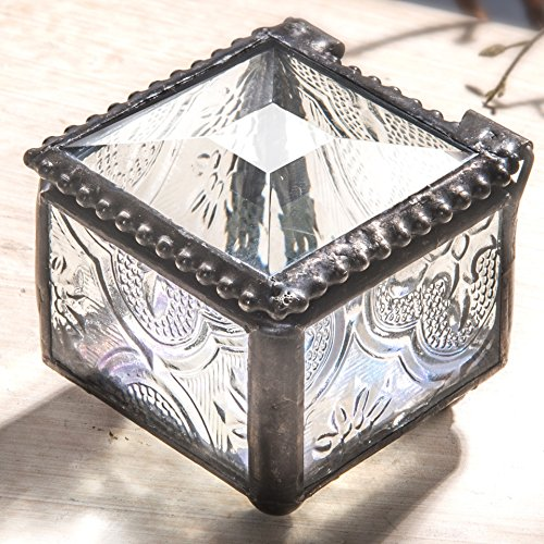 J Devlin Box 522 Tiny Clear Vintage Stained Glass Jewelry Keepsake Box Ring Box Decorative Trinket Box (Glass Keepsake)