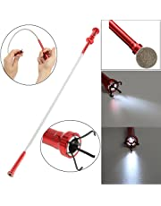 Magnetic Pick-up Tool 4 Claws with Bright LED Light Flexible Spring Magnet Grab Grabber Fingers Prongs for Garbage Pick up,arm Extension