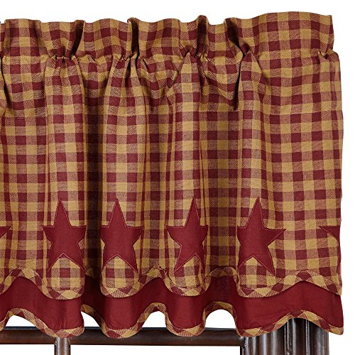 Nancy's Nook Burgundy Star Scalloped Lined Layered Valance (Burgundy Star)