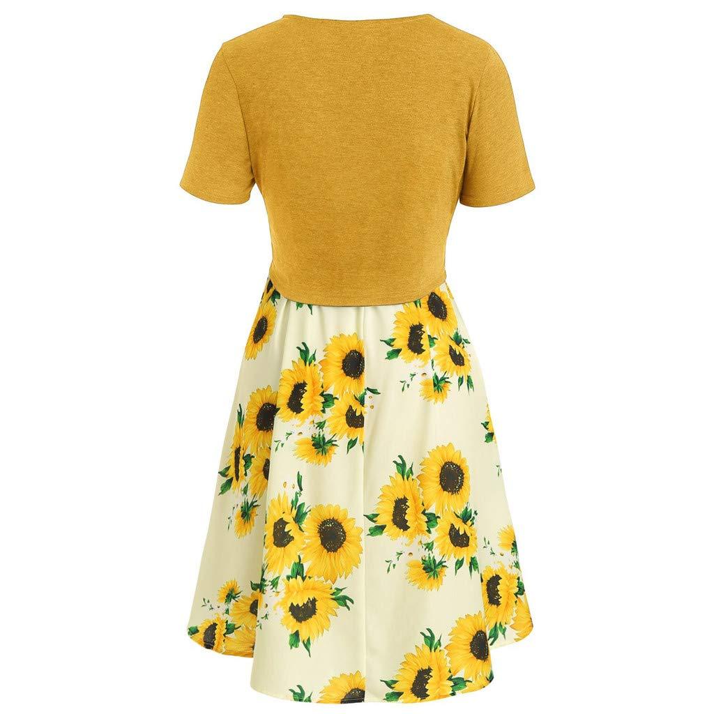 iHENGH Summer Dresses for Women 2019d Fashion Women Short Sleeve Bow Knot Bandage Top Sunflower Print Mini Dress Suits