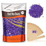 Hard Wax Beans, Hard Body Wax Beans, Solid Depilatory Wax for Facial Armpit Legs 300g (10 Oz)/bag with 12pcs Wax Spatulas(Lavender)