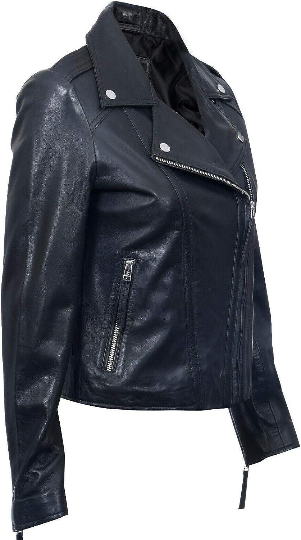 Infinity Leather Giacca da Donna Stile Vintage in Vera Pelle con Zip da Motociclista