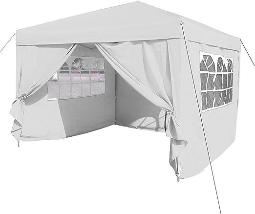 Qulista Carpa Pabellón Plegable 3x3 / 3x6 / 2.5x2.5 / 3x3M Tienda de campaña Impermeable Cenador Gazebo con Ventanas para Fiestas Tiendas Eventos Boda o Picnic (Pabellón: 3 x 3 x 2.6 M, Blanco): Amazon.es: Jardín