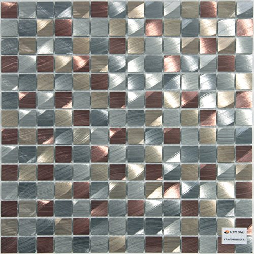 Royllent Modern Pure Aluminium 3d Decorative Wall Tiles for Kitchen Backsplash Accent wall Tv&Sofa Background Bathroom Wall 1sq.ft Metal Mosaic (Mix) - Accent Tile Decorative Backsplash Tiles