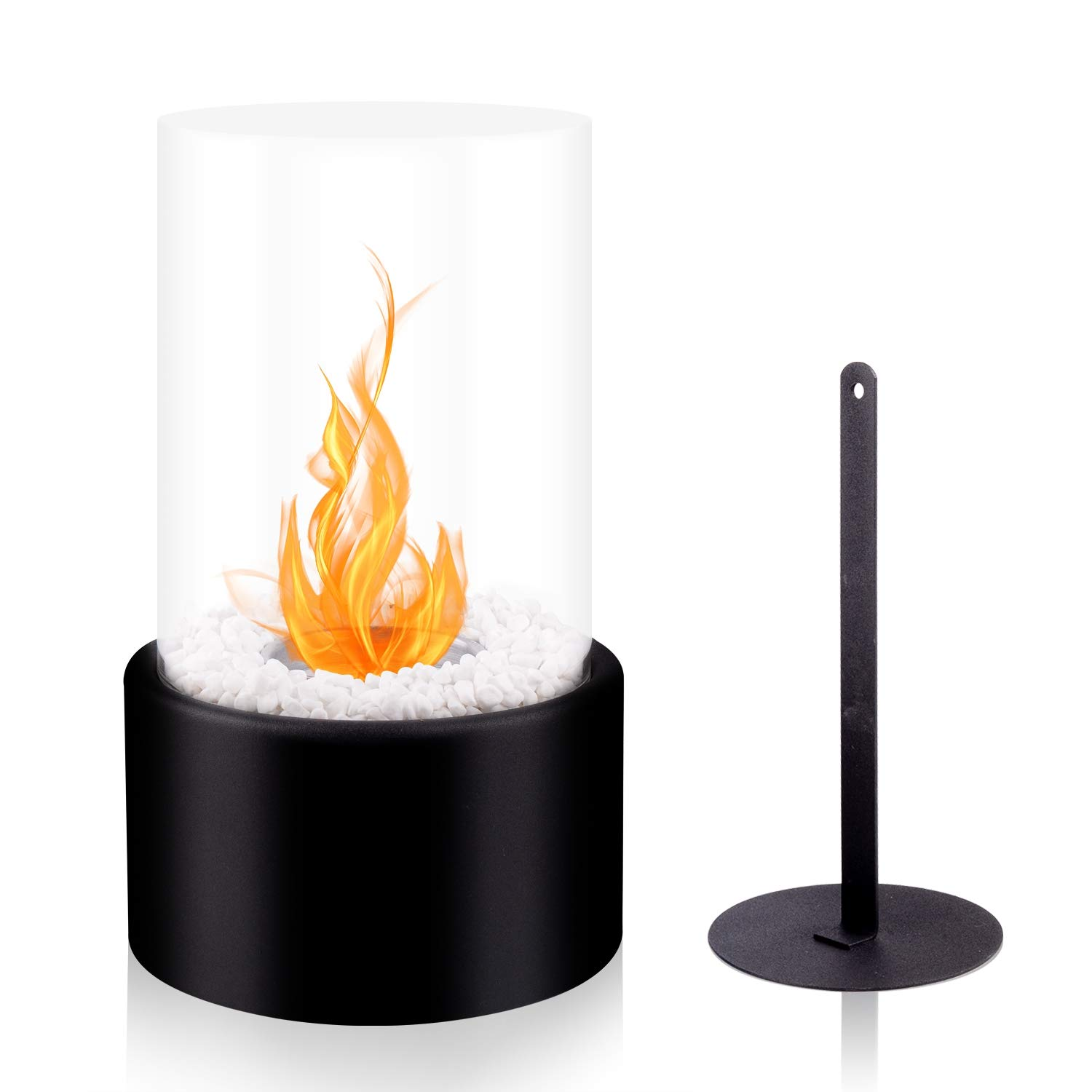 BRIAN & DANY Ventless Tabletop Fireplace Somkeless Clean Indoor Outdoor Fire Pit Portable Fire Bowl Pot Bio Ethanol Fireplace in Black w/Fire Killer and Pebbles by BRIAN & DANY