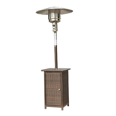 Outsunny Radiador Estufa Calentador Patio de Gas Potencia 8 a 12 KW Metal y Ratan Nuevo