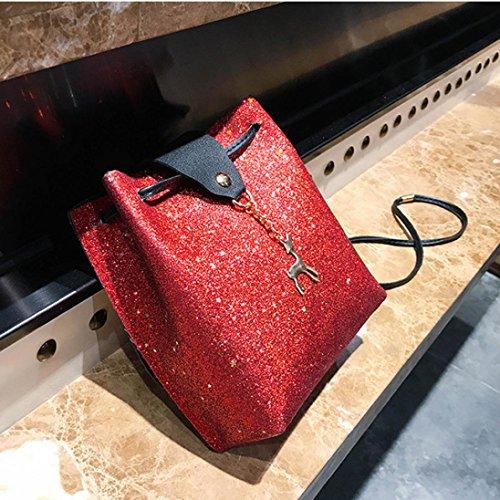 Blue Leather Small Bag Crossbody Shoulder Sequins Bags Deer Womens Red YJYDADA Bag Messenger ZwEnRXqPR