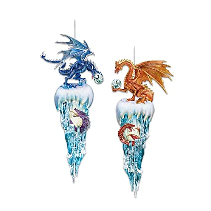 decorative fantasy dragon christmas ornaments kingdom of the ice collection set one by the bradford