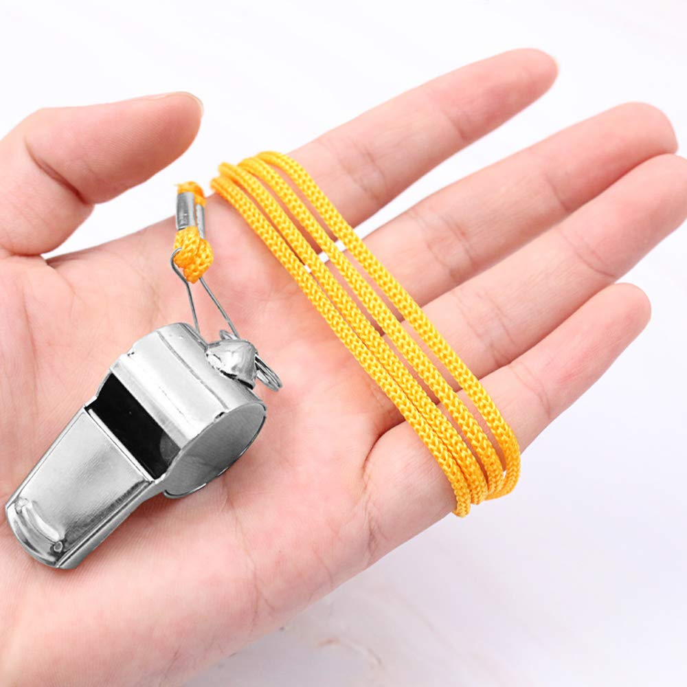 5 pcs Stainless Steel Whistle FineGood Loud Metal Whistle with Yellow Lanyard for Referees Coaches Lifeguards Survival Emergency Football Basketball Soccer Hockey