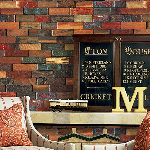 (YT41 Wood Brick Wallpaper Roll,Red/Brown Multi Wooden Blocks Stacked Wallpaper Murals Bedroom Living Room Kitchen Hotels Wall Decoration 20.8in×32.8ft)