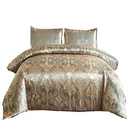 96ccf2039a13 NTBED Jacquard Duvet Cover Set,Luxury Quilt Cover White/Gold/Blue/Brown