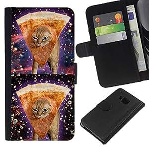 Space Weed Pizza Cat 420 Funny Stoned - la tarjeta de Crédito Slots PU Funda de cuero Monedero caso cubierta de piel HTC One M9