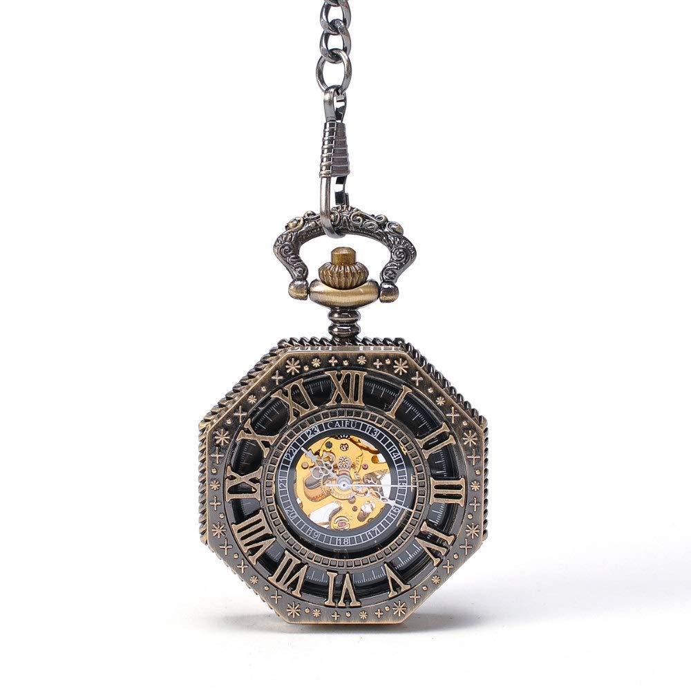 Rnwen Pocket Watch Unisex Pocket Watch Old-Fashioned Mechanical Pocket Watch Octagonal Creative Flip Openwork Back Mechanical Watch Pocket Watch with Chain (Color : Brass, Size : 4.7x1.5cm) by Rnwen