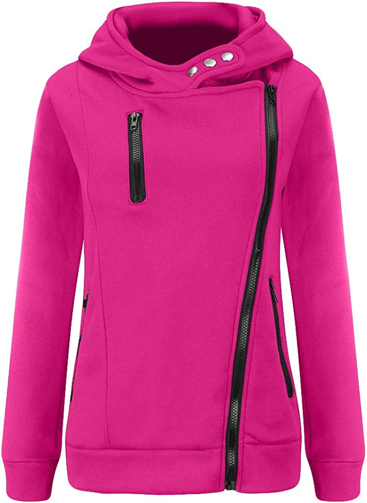 Aotifu 2019 Womens Long Sleeve Zip Up Hoodie Top Sale Color Block Basic Casual Hooded Sweatshirt Padded Sweater