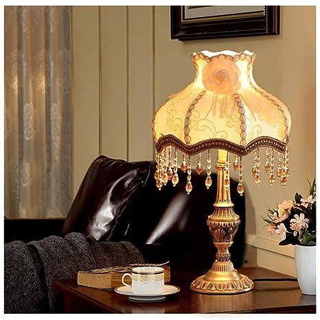 YYF Lámpara de mesa retro LED - Pantalla de tela - Lámpara de mesa ...