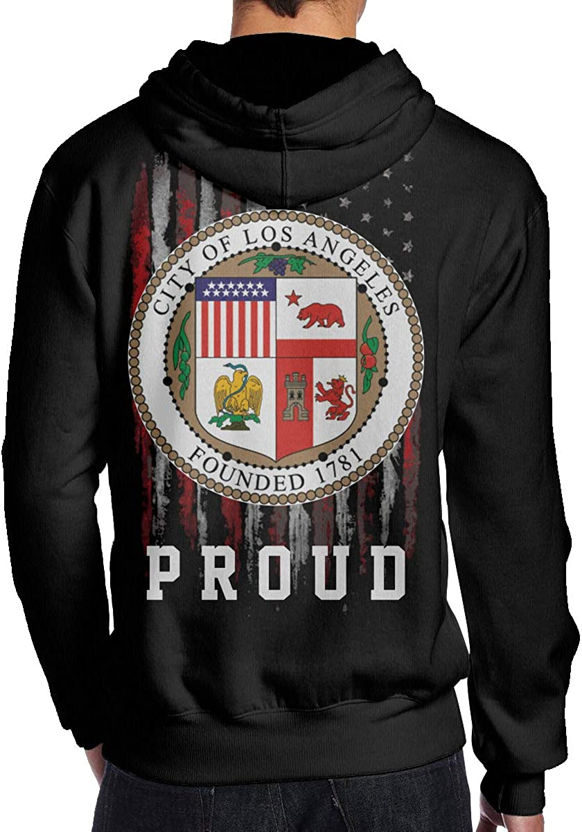 THEBUONUINV Proud American Flag Seal of The City of Los Angeles Mens Hoodie Hooded Sweatshirt