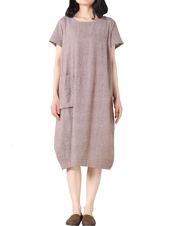 MatchLife Damen Rundhals Kurzarm Irregulär Pocket Kleider