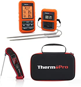 ThermoPro TP20 BBQ/Grilling/Smoking Thermometer Bundle TP99 Case TP19 Ultra Fast Instant Read