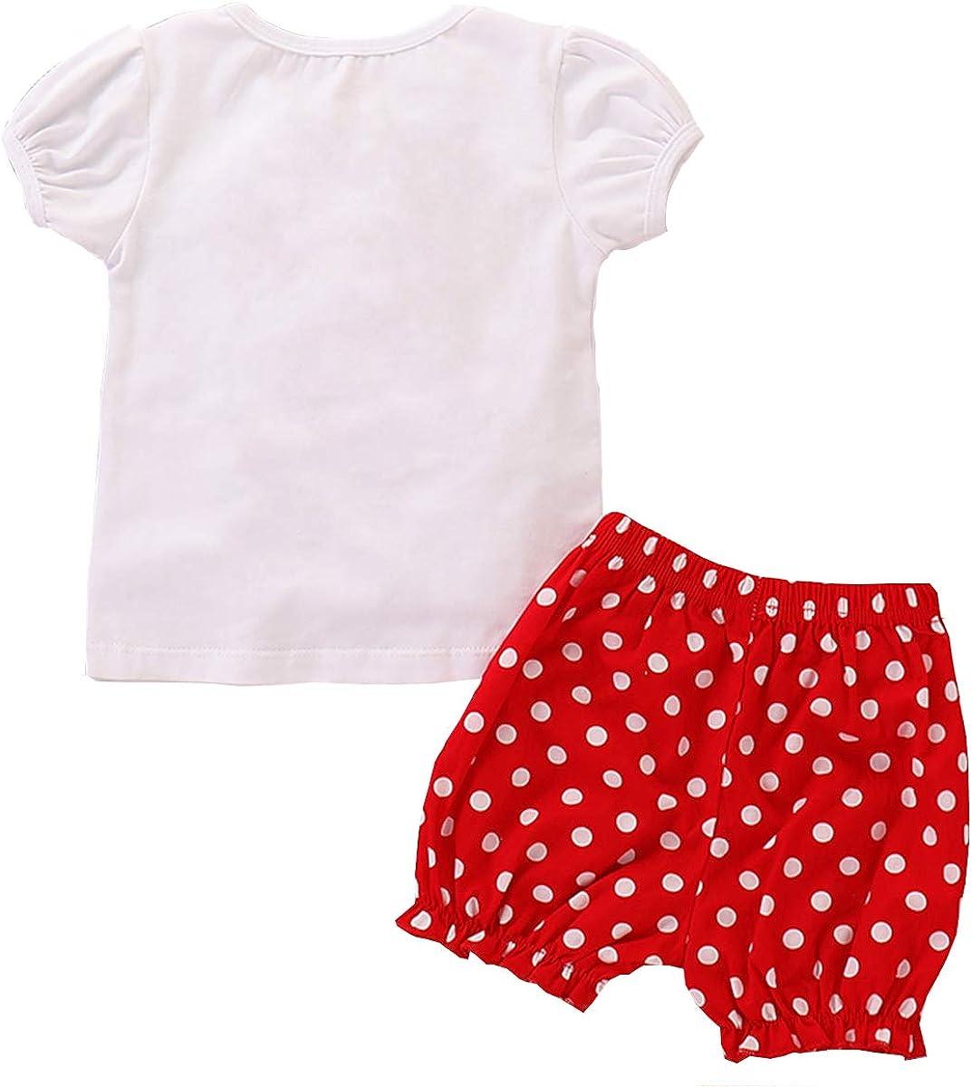 FYMNSI Toddler Kids Baby Girl Birthday Party Cake Smash Outfit Summer Short Sleeve T Shirt Top Ear Bow Headband 3pcs Clothes Set Photo Props 1-5Y Red Polka Dots Shorts Pants