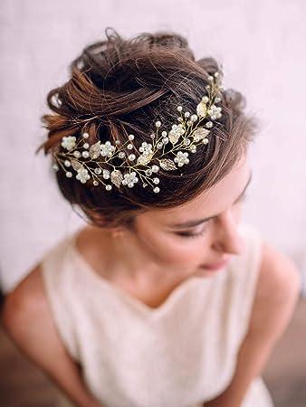 Golden Leaf Flower Foreign Trade Hair Band Wedding Dress Accessories JewelryDD