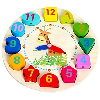 TOYANDONA Kids Clock Toy Wooden Sorter Clock Puzzle Lacing String Beads Threading Toys Montessori Educational Preschool Toys for Kids Toddlers: Toys & Games