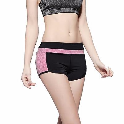 XXSZKAA Yoga Shorts Women'S Running Fitness Women'S Shorts/Quick-Drying High-Stretch Slim Shorts, Rose Red, M