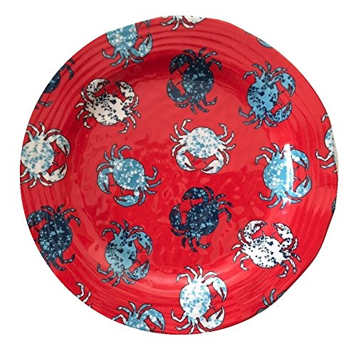 Cynthia Rowley Red Crab Melamine Dinner Plates, Set of Four