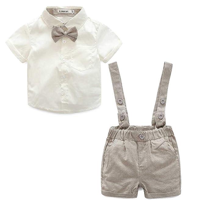 3c6cc579a Baby Boys 2Pcs Christening Suits Bowtie Shirt Top + Suspenders Strap  Shorts
