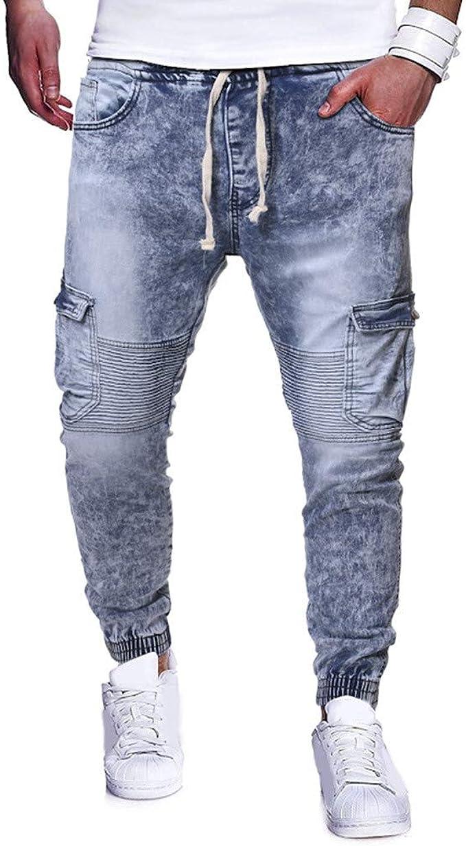 Vectry Pantalones Hombre Moda Casual Vintage Elástico Wash ...