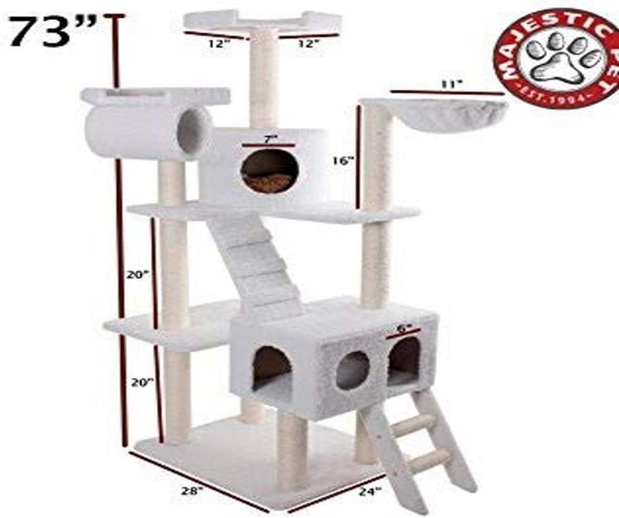 B000M3YBLO Majestic Pet Products 73 inch Beige Casita Cat Furniture Condo House Scratcher Multi Level Pet Activity Tree 61AnkgoKNcL
