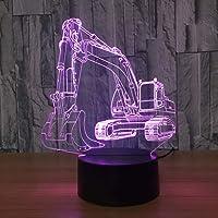 HIOJDWA Luz nocturna 7 Cambio de Color Led Usb 3D Excavación Maquinaria Forma Lámpara de Luz de Noche Bebé Dormir Decoración Del Hogar Lámpara de Escritorio
