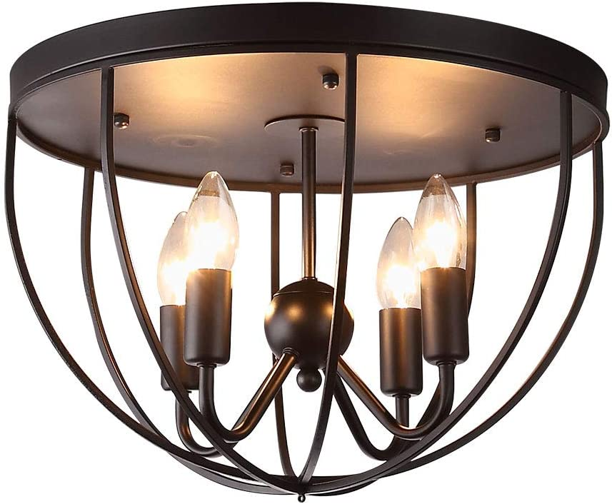 Kunmai Rustic Black Metal Round Cage Semi Flush Mount Ceiling Light Fixture With 4 Candelabra Shaped Lights
