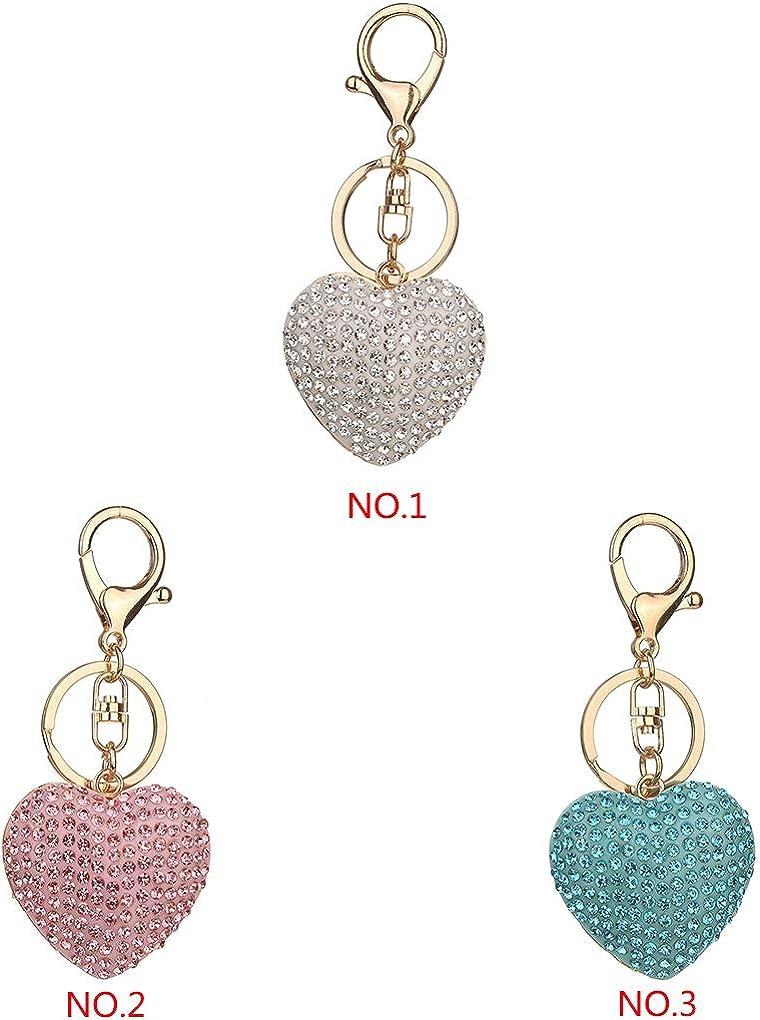 Love Heart Pendent Keyring Lobster Clasp Metal Key Ring Car Bag Purse Decoration Keychain