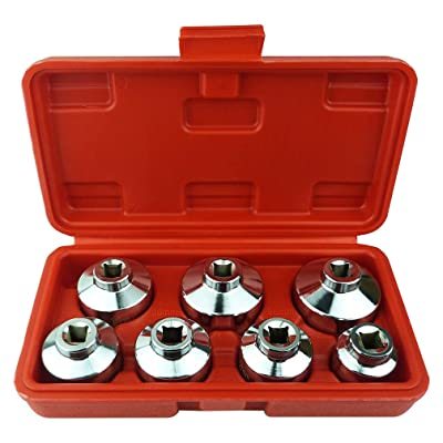 Heavy Duty 7-Piece Oil Filter Cap Wrench Tool Kit Can Last for Ever Includes 24mm,27mm,29mm,30mm,32mm,36mm,38mm Socket Set Compatible with Mercedes Benz, VW, BMW and More Oil Filter Housing: Automotive