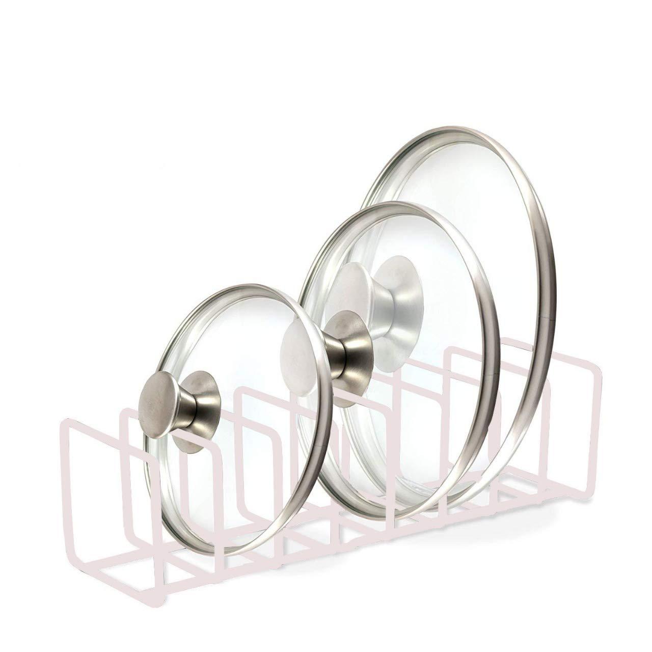 Organiseur de couvercle de pot de luxe de qualité - Gardez vos armoires rangées avec étagère de rangement verticale en métal pour contenir couvercles, assiettes, plats, planches à découper blanc