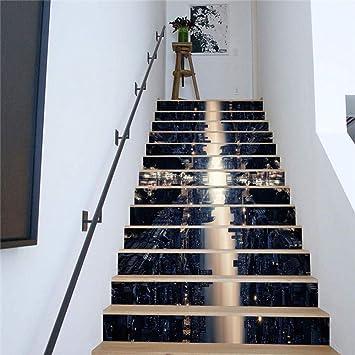 Pegatinas De Escalera 3D Color De La Escena Nocturna Pegatinas De Escaleras Pegatinas De Pared Para El Hogar Pegatinas Decorativas Escaleras Decorativas Pegatinas De Pared: Amazon.es: Bricolaje y herramientas