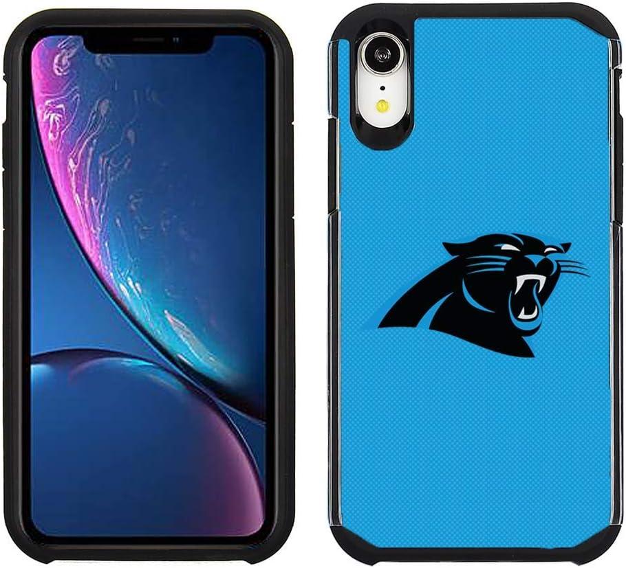 Prime Brands Group Cell Phone Case for Apple iPhone XR - NFL Licensed Carolina Panthers - Light Blue Textured Back Cover on Black TPU Skin