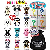 """TY Mini Boos Hand Painted Collectible Figurines Series 1 Blind Box Gift Set Party Bundle with Bonus """"Matty's Toy Stop"""" Storage Bag - 4 Pack (Asst.)"""