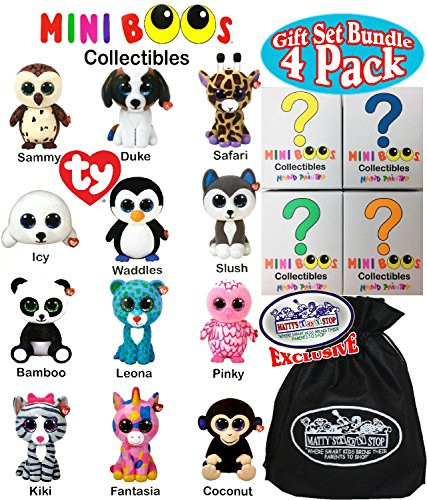 "TY Mini Boos Hand Painted Collectible Figurines Series 1 Blind Box Gift Set Party Bundle with Bonus ""Matty's Toy Stop"" Storage Bag - 4 Pack (Asst.)"