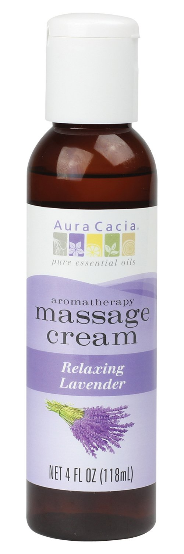Aura Cacia Massage Cream, Relaxing Lavender, 4 Fluid Ounce