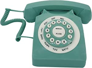 Retro Corded Landline Phone, TelPal Classic Vintage Old Fashion Telephone for Home & Office, Wired Home Phone Gift for Seniors (Green)