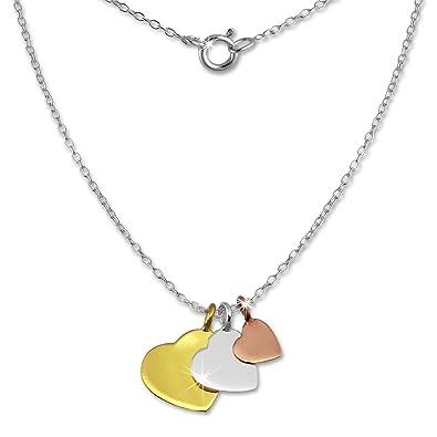 SilberDream Halskette 925 Silber vergoldet 45cm Herzen rose gelbgold  D1SDK8001F  Amazon.de  Schmuck f3f95bae55