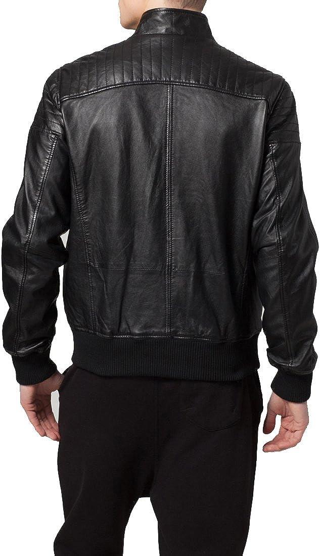 Kingdom Leather Mens Genuine Cow Leather Jacket Slim Fit Moto Biker Jacket XC338