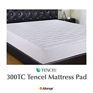 "Allrange 300TC Cool Tencel Hypoallergenic Quilted Mattress Pad, Stretch-up-to 22"", Fitted Tencel Polyester Fill, Silky Cotton Tencel Cover,Oeko-TEX Certified, Queen"